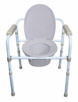 Folding Commode Chair McKesson Fixed Arm Steel Frame Back Bar 13-3/4 Inch Seat Width COMMODE