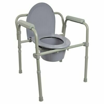 Folding Commode Chair McKesson Fixed Arm Steel Frame Back Bar 13-1/4 Inch Seat Width COMMODE (4/CS)