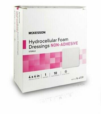 Foam Dressing McKesson 4 X 4 Inch Square Non-Adhesive without Border Sterile DRESSING, HYDROCELLULAR NON-ADH STR FOAM 4