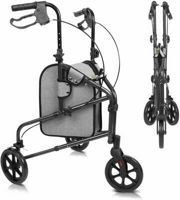 Vive Mobility 3 Wheel Rollator Walker - Lightweight and Foldable for Seniors, Elderly, Men, Women