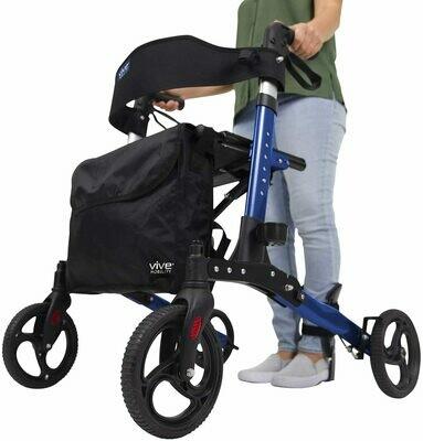 Vive Rollator Walker - Folding 4 Wheel Medical Rolling Walker with Seat & Bag