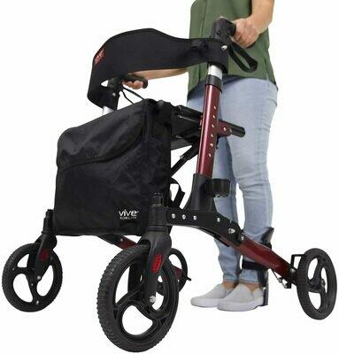 Vive Rollator Walker - Folding 4 Wheel Medical Rolling Walker with Seat & Bag (Red)