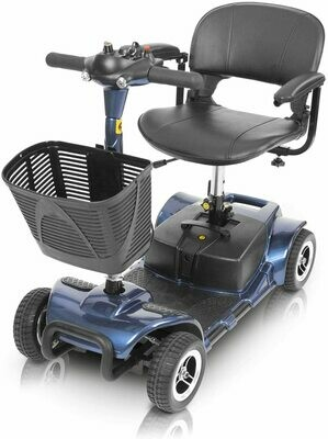 Vive 4 Wheel Mobility Scooter - Electric Powered Wheelchair Device - Compact Heavy Duty Mobile for Travel, Adults, Elderly (Blue)