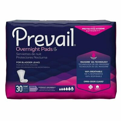 Prevail Bladder Control Pads, Breathable AirMax Layer, Overnight, 16