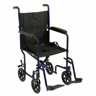 Lightweight Transport Chair McKesson Aluminum Frame with Blue Finish 300 lbs. Weight Capacity Fixed Height