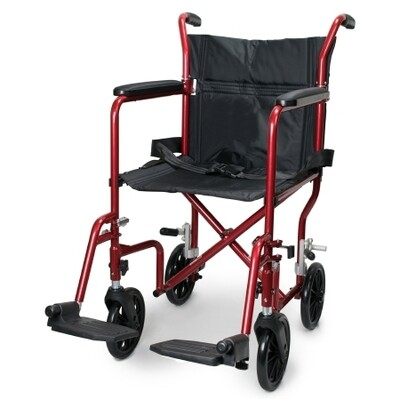 Lightweight Transport Chair McKesson Aluminum Frame with Red Finish 300 lbs Weight Capacity Fixed Height
