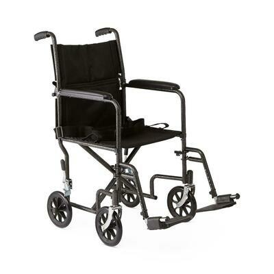 Medline Basic Steel Transport Chair, Hammertone, 19
