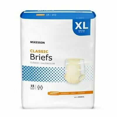 Unisex Adult Incontinence Brief McKesson Classic X-Large Disposable Light Absorbency BG/15