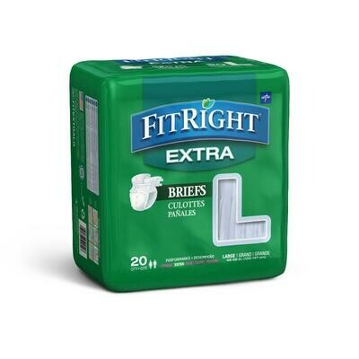 FitRight Extra Cloth-Like Adult Incontinence Briefs, Size L, for Waist Size 48
