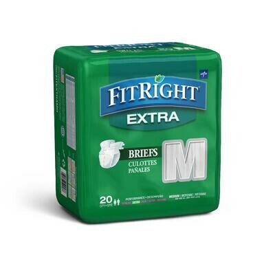 FitRight Extra Cloth-Like Adult Incontinence Briefs, Size M, for Waist Size 32