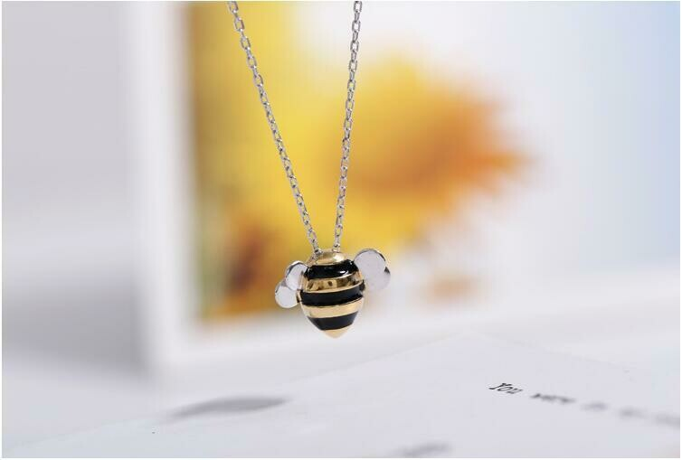 925 Sterling Silver Plated Pendant Bumble Bee Necklace