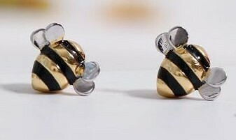 925 Sterling Silver Plated Bumble Bee Earrings