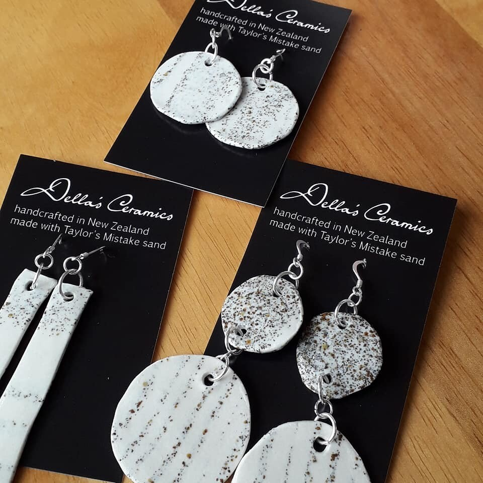 Ceramic Earrings with Sterling Silver & Taylors Mistake Sand
