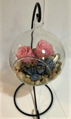 Hanging Teardrop Glass Terrarium on Iron Stand with Preserved Rose & Dried Flowers.