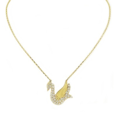 14kt Yellow Gold Necklace with Swan