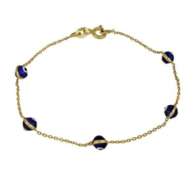 10kt Yellow Gold Bracelet with Turkish Eye