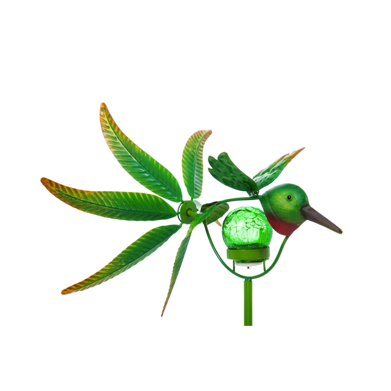 "36""H Solar Hummingbird Staked Wind Spinner"