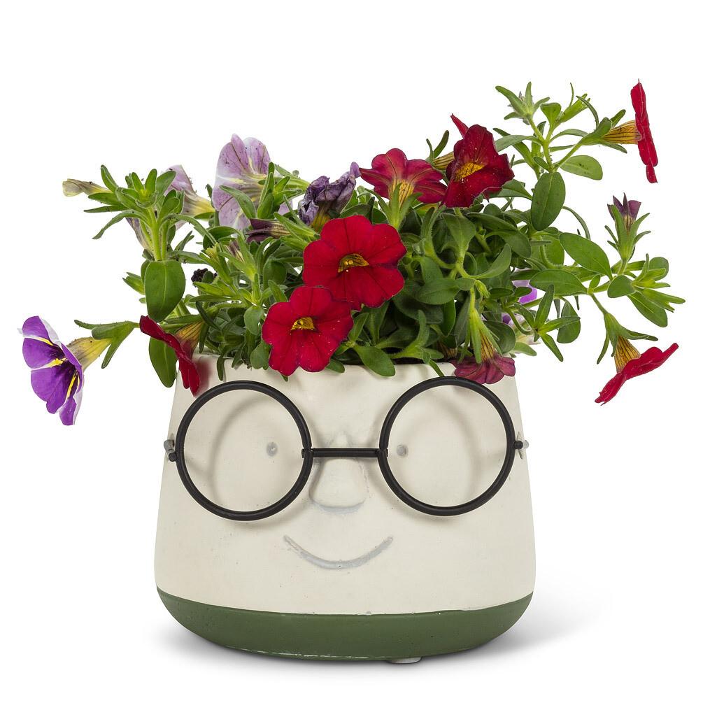 Sm Face Planter w/Glasses