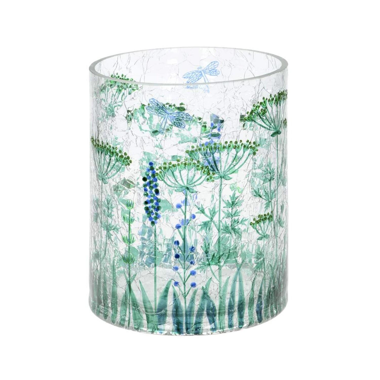 Green Flowers Cylinder Vase