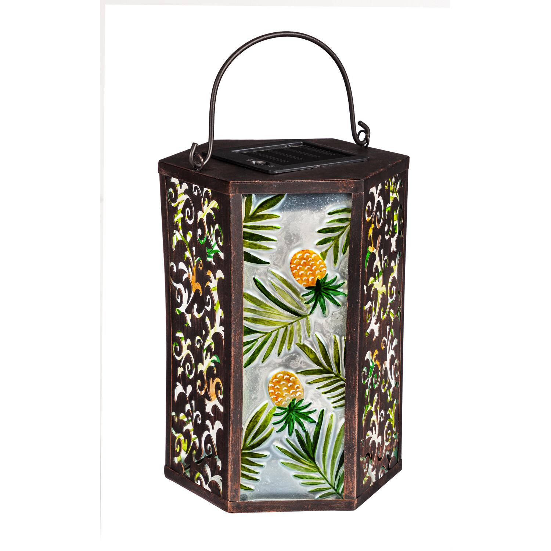 Tropical Pineapple Handpainted Embossed Glass and Metal Solar Lantern