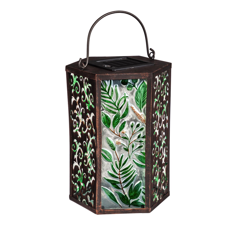 Green Botanicals Handpainted Embossed Glass and Metal Solar Lantern