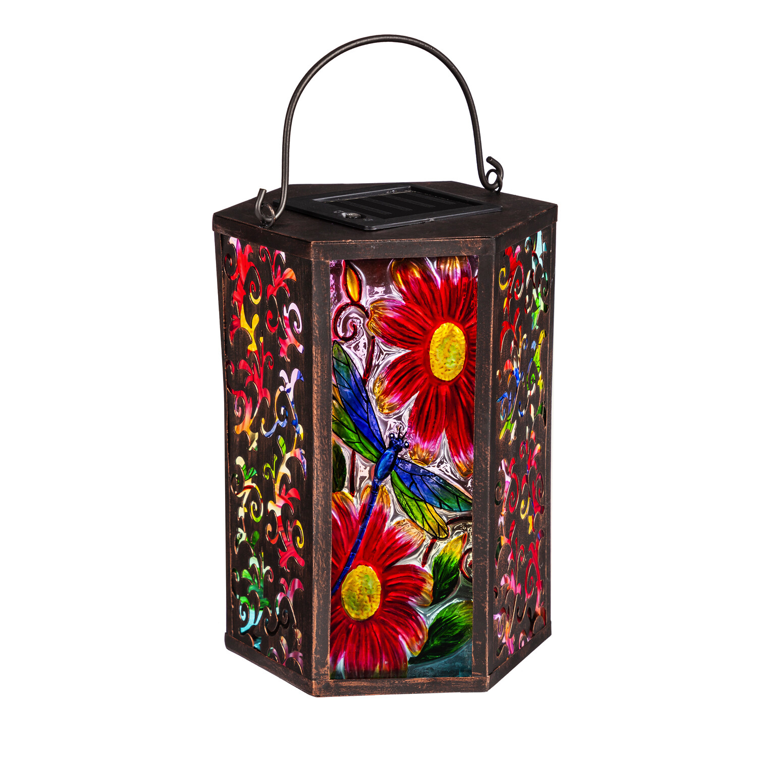 Garden Dragonfly Handpainted Embossed Glass and Metal Solar Lantern