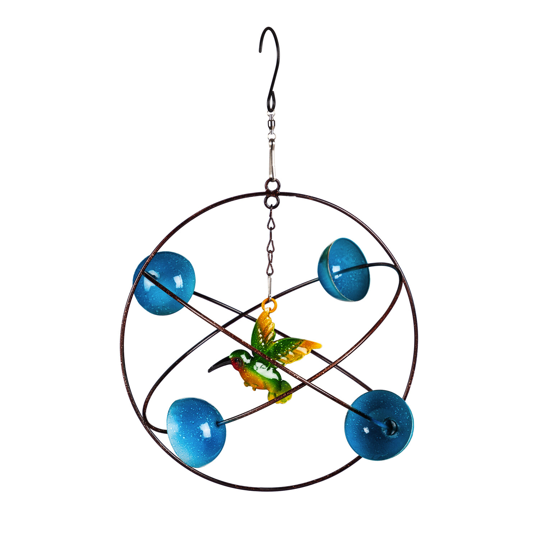 Blue Circles Hanging Wind Twirler, Hummingbird