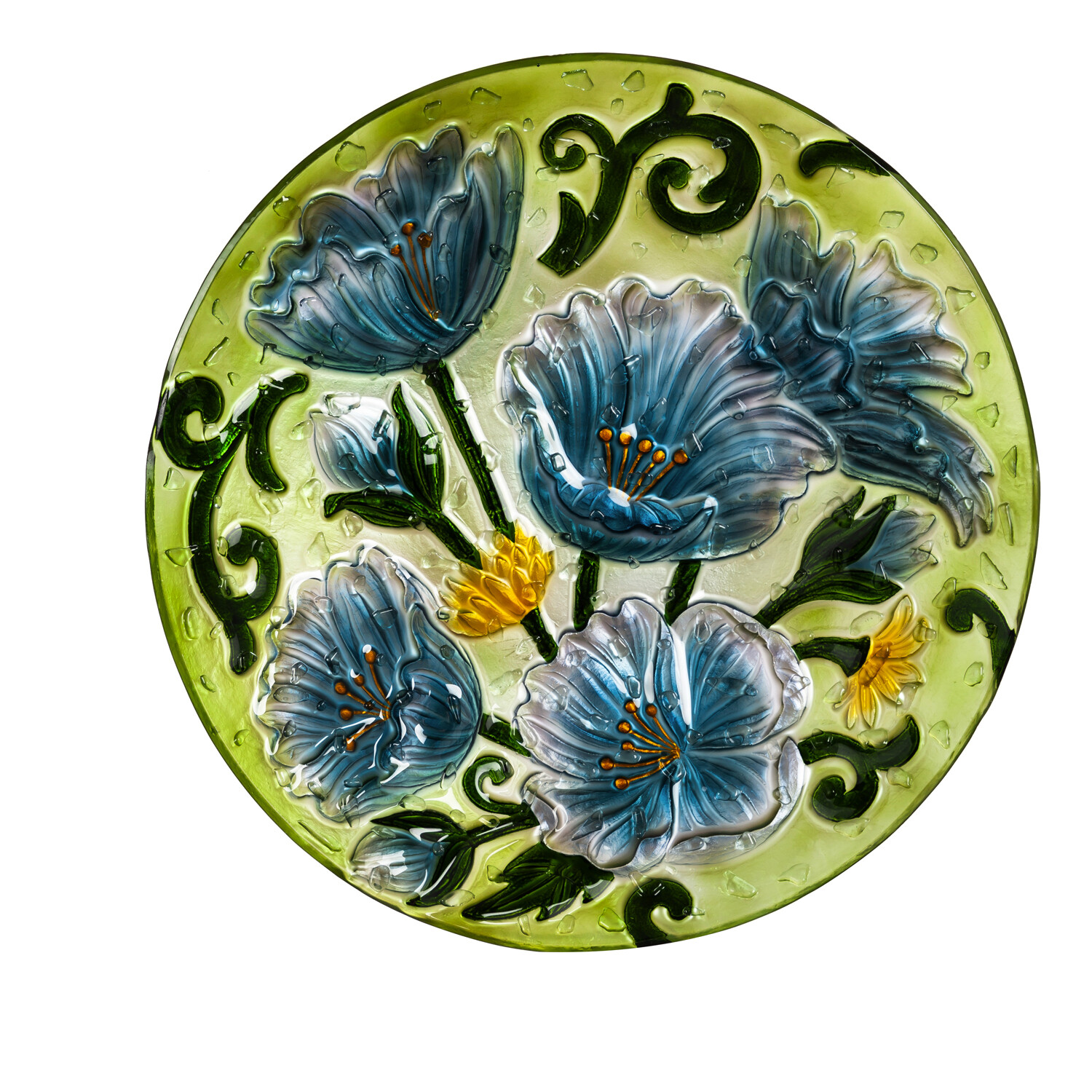 """18"""" Hand Painted Bird Bath with Crushed Glass, Blue Poppies"""