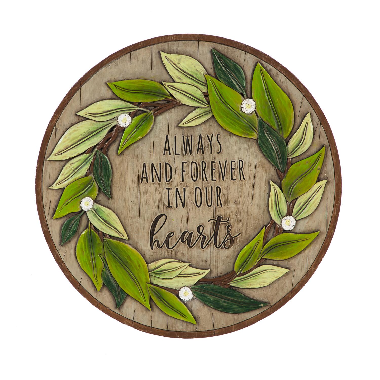 """10.75"""" Memorial Garden Stone, Wreath"""