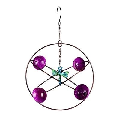 Purple Circles Hanging Wind Twirler, Dragonfly