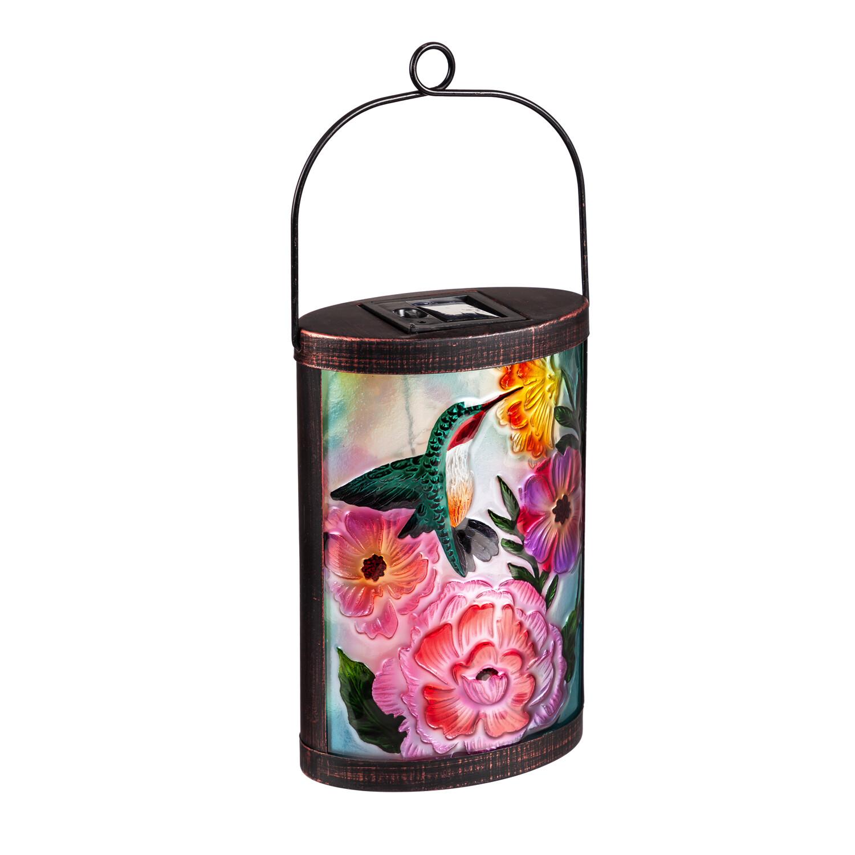 Handpainted Solar Glass Lantern, Floral Ladybug