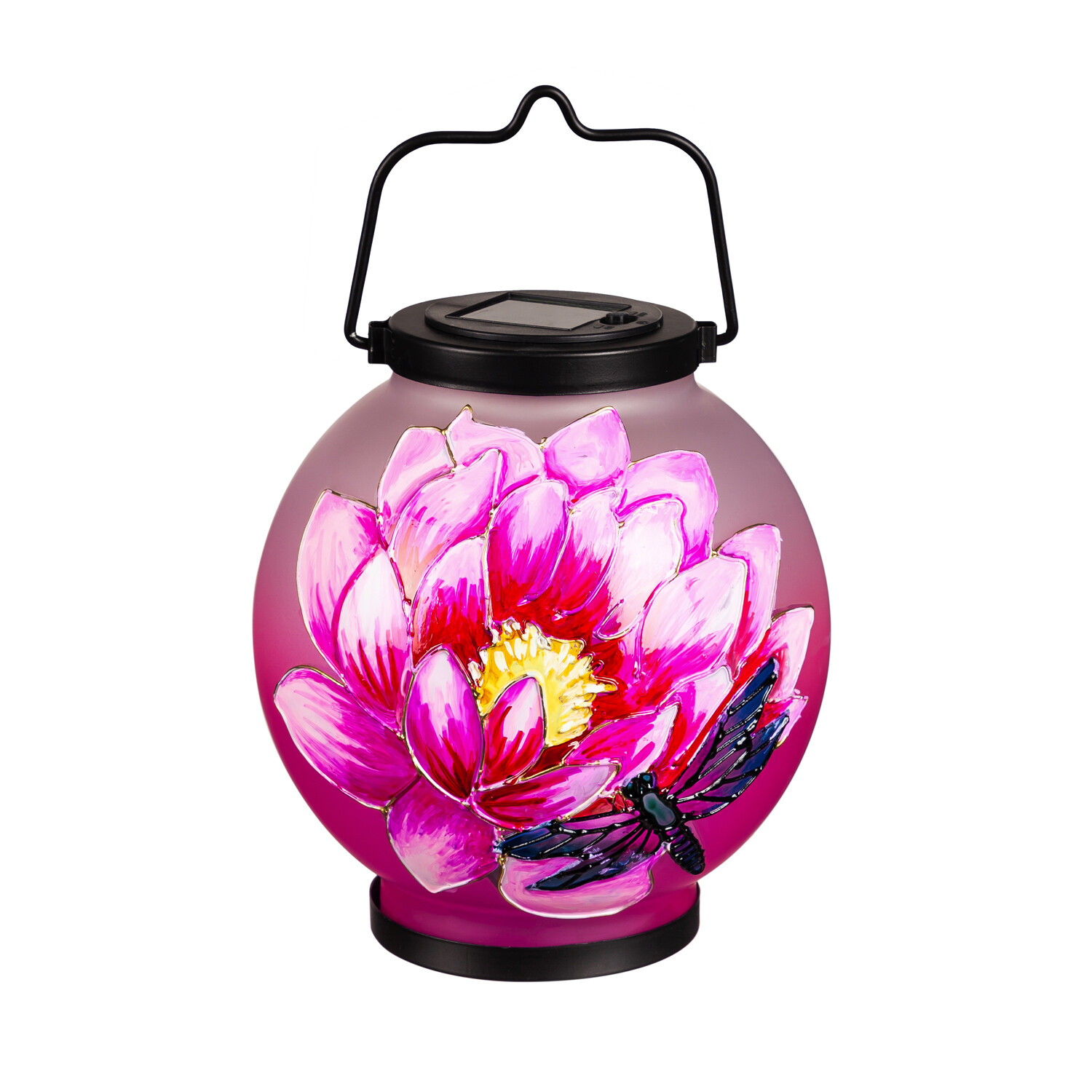 Solar Circle Ombre Lantern with Painted Flower Bee
