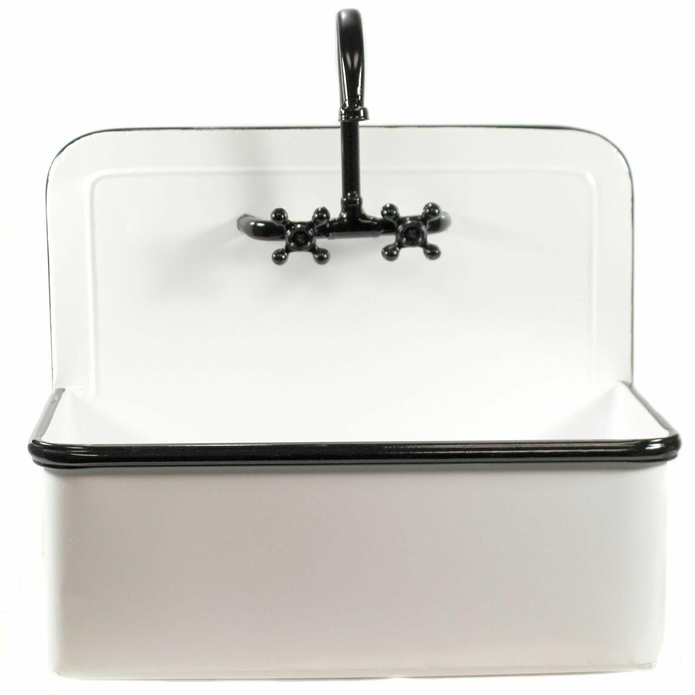 Black & White Enamel Sink Planter L