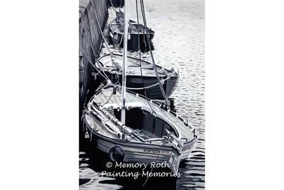Boats at Portsoy - B & W