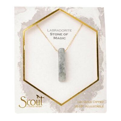 Stone Point Necklace - Labradorite/Gold