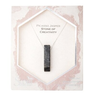 Stone Point Necklace - Picasso Jasper/Silver