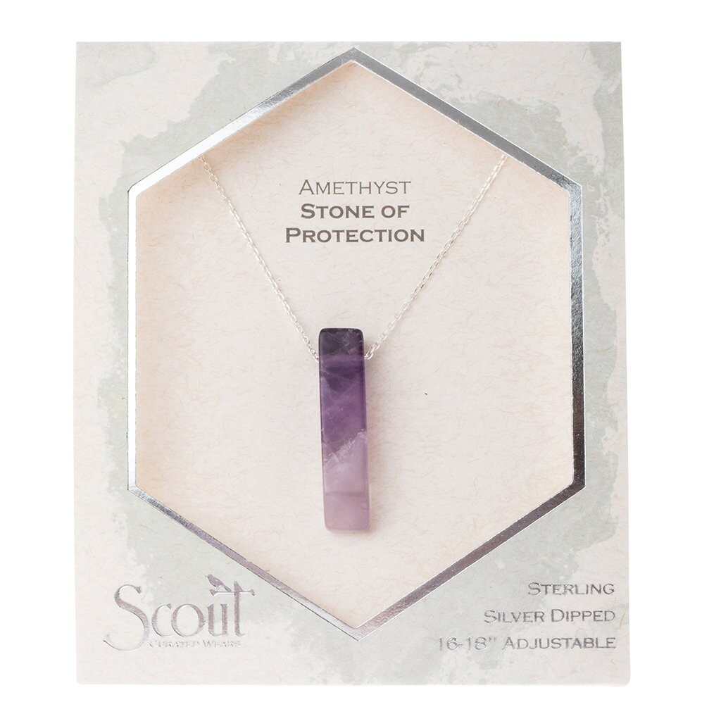 Stone Point Necklace - Amethyst/Silver