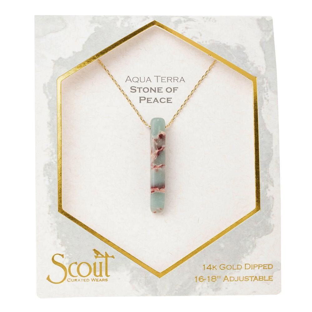 Stone Point Necklace - Aqua Terra/Gold