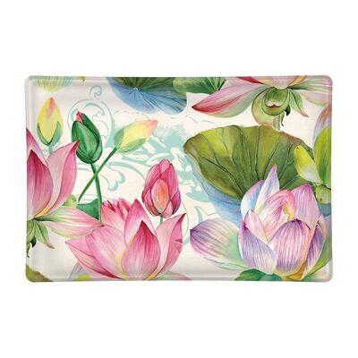 Water Lilies Rectangular Glass Soap Dish