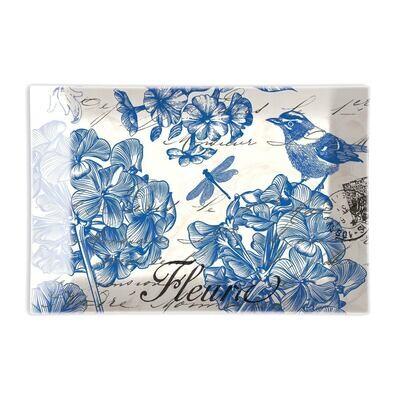 Indigo Cotton Rectangular Glass Soap Dish