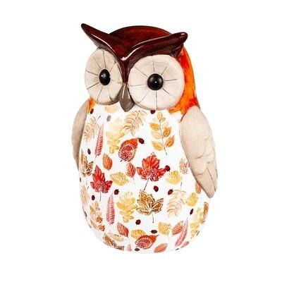 Ceramic Fall Harvest Owl L
