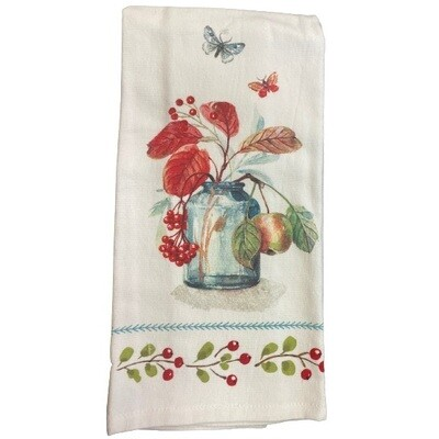 Autumn in Nature Blue Bottle DP Terry Towel
