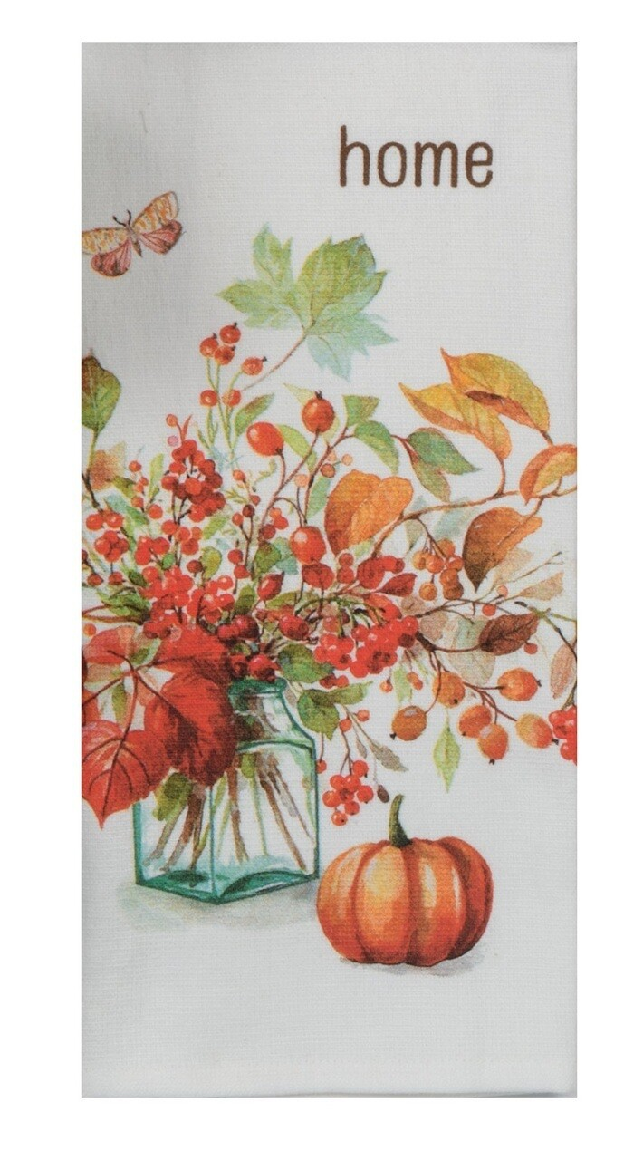 Autumn in Nature Berry Bouquet DP Terry Towel