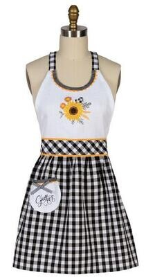 Gingham Sunflower Hostess Apron