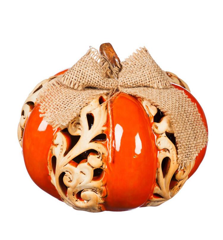 LED Ceramic Pumpkin - Short