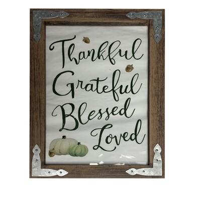 Thankful Grateful Blessed Loved - Framed Print on Glass