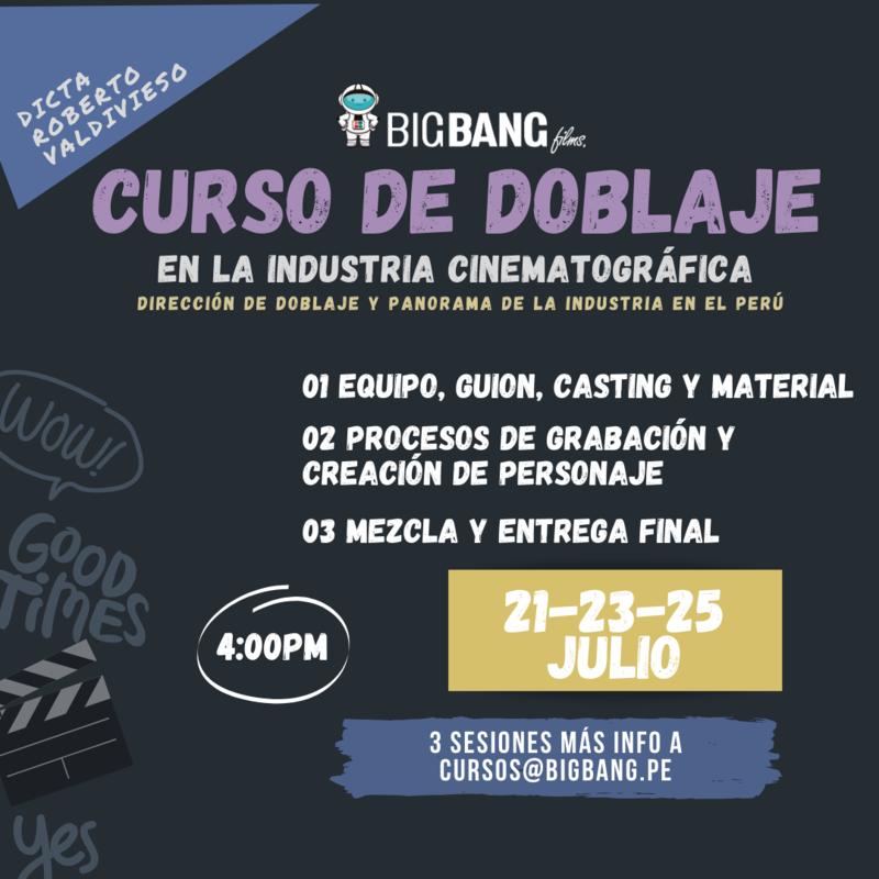CURSO DE DOBLAJE EN LA INDUSTRIA CINEMATOGRÁFICA