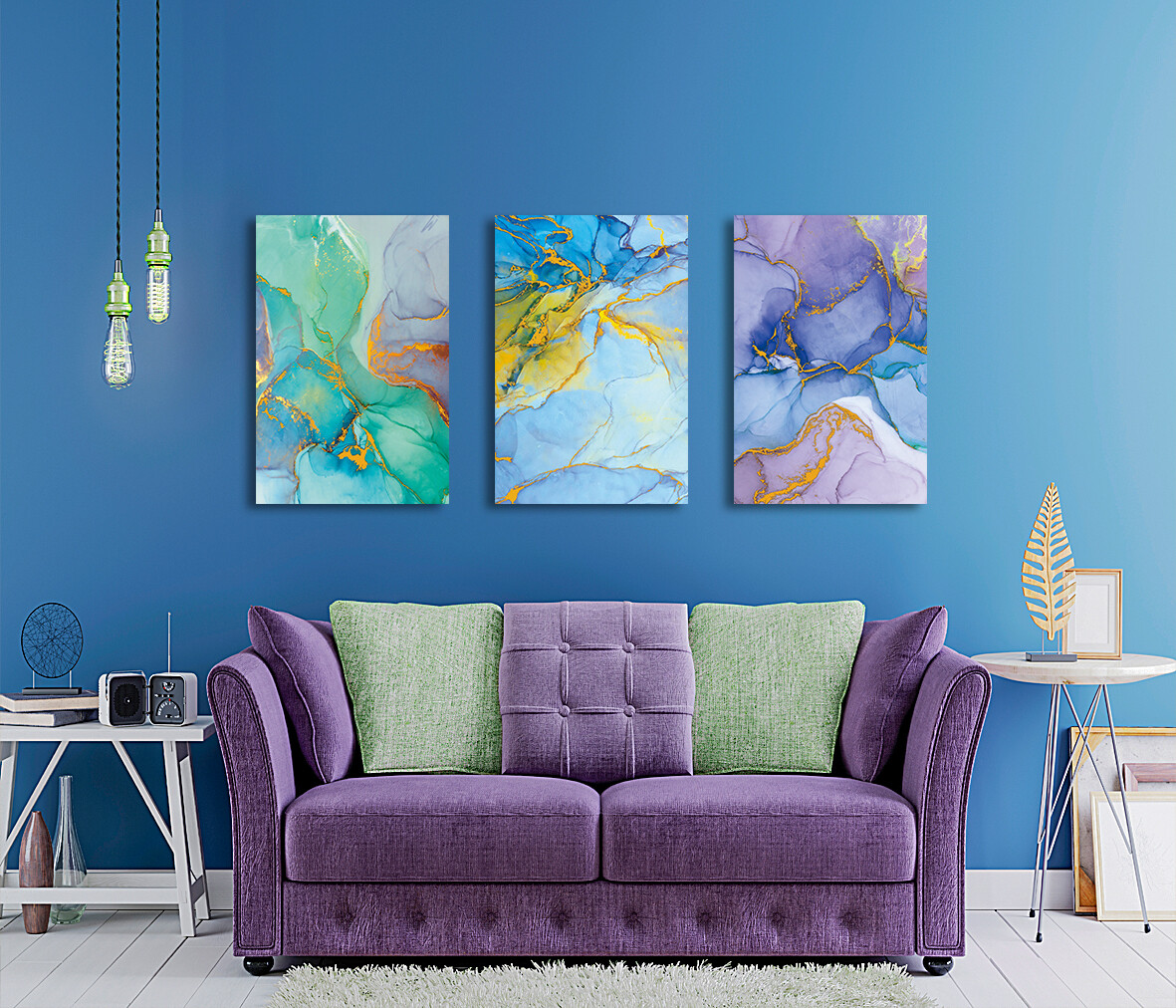 Colourful Abstract Painting  - Modern Luxury Wall art Printed on Acrylic Glass - Frameless and Ready to Hang