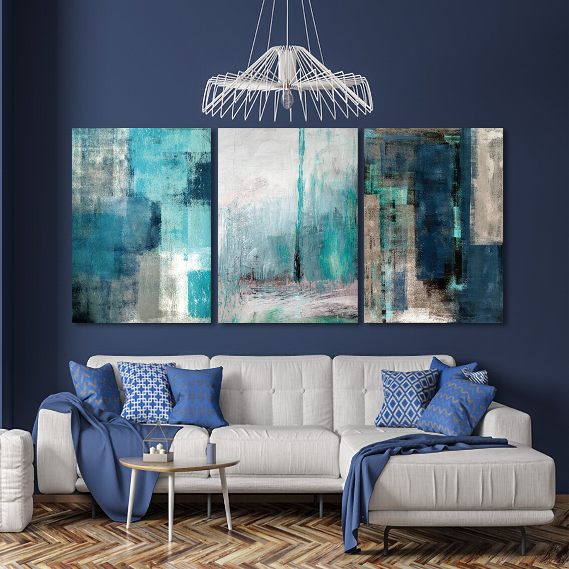 Juan Blue Abstract Arts  - Modern Luxury Wall art Printed on Acrylic Glass - Frameless and Ready to Hang