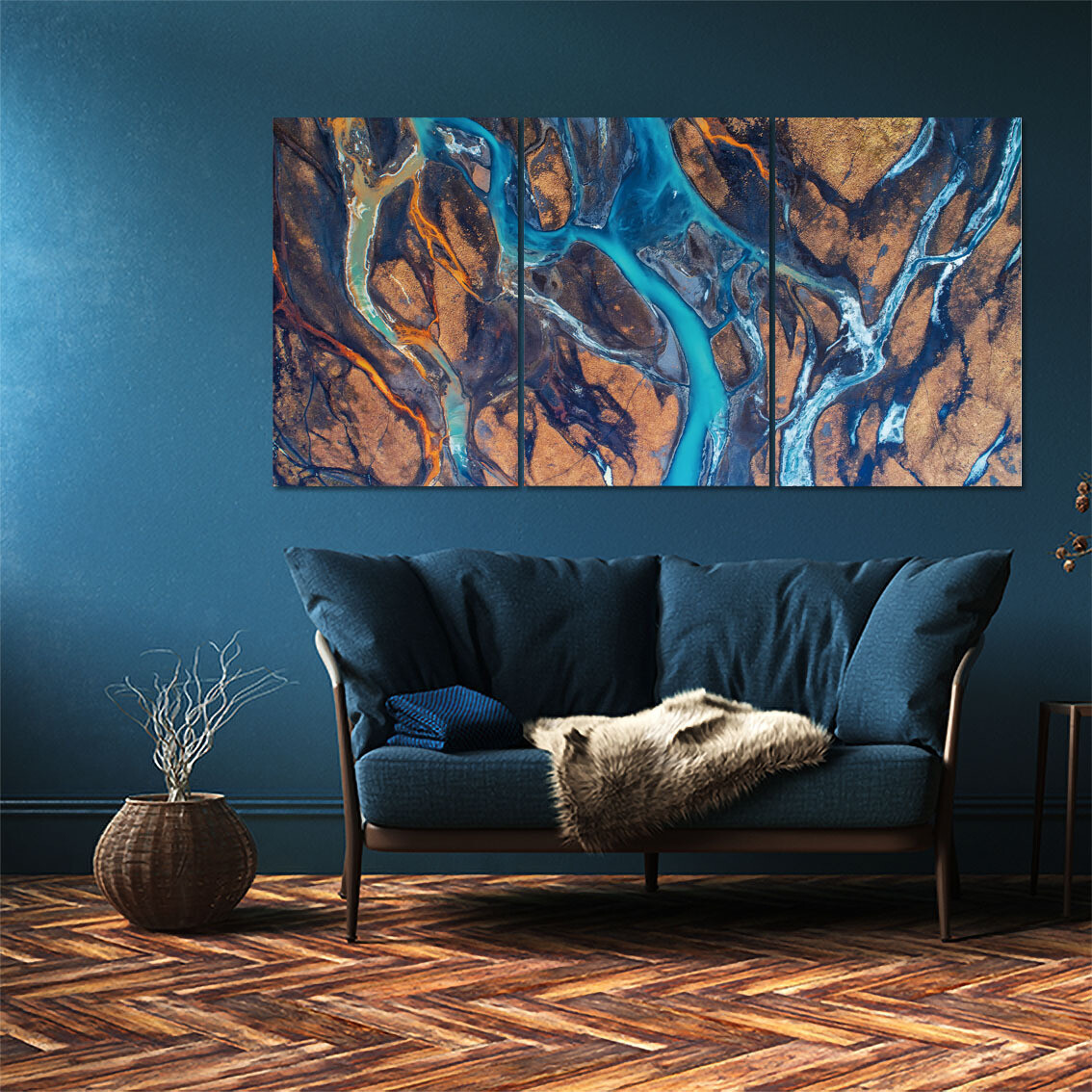 River In Iceland (3 Panels)  - Modern Luxury Wall art Printed on Acrylic Glass - Frameless and Ready to Hang